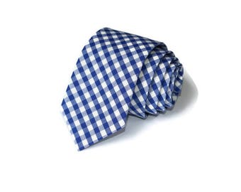 Royal Blue Gingham Necktie~Anniversary Gift~Wedding Tie~Mens Gift~Boys Necktie~Mens Necktie~Wedding~HoBo Ties~Mens Tie~Nautical Blue