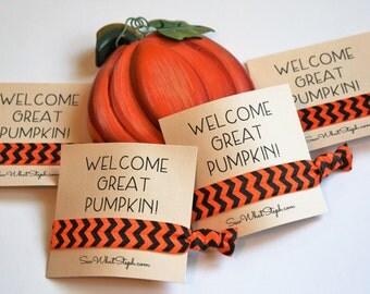 Welcome Great Pumpkin Elastic Hair Ties / Charlie Brown / Happy Halloween / 1-ct / Wristlet Tie / Birthday / Fall Harvest Festival