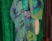 Easter Special Felted shawl, felted scarf, original design,Organic, Hand made, in USA, gypsy shawl, fairy shawl, Fashion shawl,Wearable art,