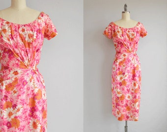 Vintage 1950s Cocktail Dress / 50s Pleated Silk Wiggle Sarong Dress / Pink Floral Print Dress