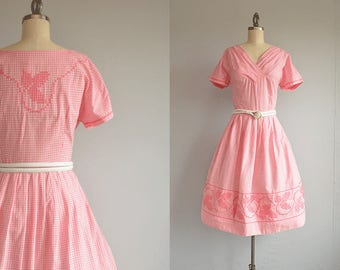 Vintage 1950s Gingham Dress / 50s Pink Embroidered Cross Stitch Gingham Day Dress with Pleated Skirt