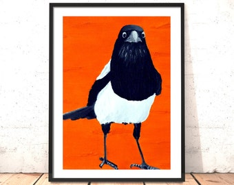 Magpie Print | Five for Silver - Print of Original Magpie Oil Painting | Magpie Painting | Bird Art | Bird Painting | Orange Art