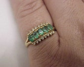 Estate Vintage Ladies  14Kt  Yellow Gold Genuine 3.00carats Emeralds and Diamonds Ring,  1950s