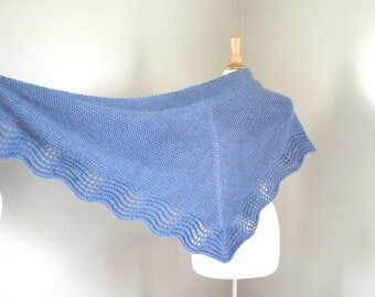 Pure Cashmere Shawl Wrap, Hand Knit, Denim Blue, Prayer Shawl, Wedding Shawl, Luxury Knit