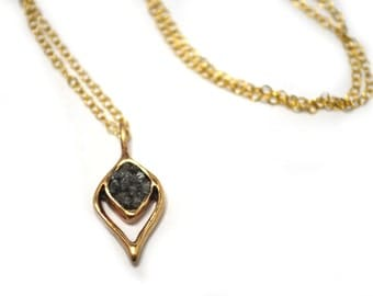 """Natural Gray Raw Diamond Resin Teardrop Drop Pendant Necklace on Chain 19"""" / Gold Filled Necklace / Lost Wax Casting / Je T'Aimee Jewelry"""