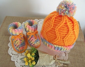 CROCHET PATTERN Baby hat and booties set -Alegria Baby Set crochet Patterns baby bonnet baby booties Instant Download Baby pattern Baby uggs
