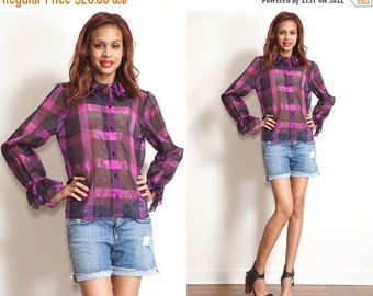 50% OFF ENTIRE STORE Vintage Plaid 80s 90s  Check Sheer Bell Sleeves Huge Collar Top // Purple Black // Checked