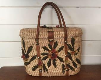 Vintage Rattan and Leather Handbag,Rattan Purse,Basket Handbag,Yarn Bag