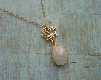 Gold Lotus Necklace, Moonstone, Gold Filled, Zen, Gold Necklace, Yoga, Gemstone Necklace, Lotus Flower, Gift for Her, Spiritual