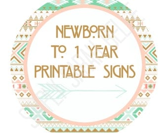Aztec/Tribal/Southwestern Newborn to 12 months PRINTABLE tags / Month Tags / Newborn to 1 Year // Instant Download **Print At Home**