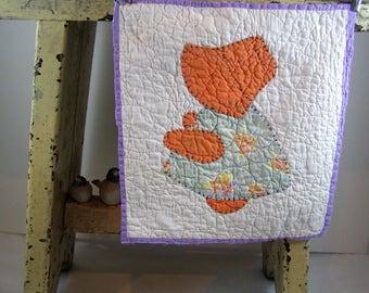 1940's Sunbonnet Sue Feed Sack Material Quilt Block. Antique Primitive Hand Quilted Hand Appliqued Sun Bonnet Girl Quilt Block.