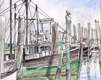 New England Fishing Boats Lobster wall decor room decor archival print signed artist, seagull, lobster 8.5x11 green blue