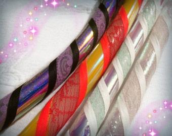 "Custom Lace Hula Hoop with holographic tape, 5/8"" 3/4"" Polypro HDPE sunrise sunset rainbow textured"