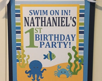 SEA LIFE Theme Happy Birthday or Baby Shower Door or Welcome Sign - Party Packs Available