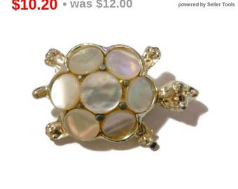 SALE Mother of Pearl turtle brooch, MOP silver tone pin, scatter pin
