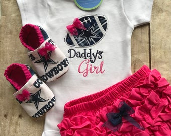Dallas Cowboys Daddy's Girl Shirt, Matching Booties and  Ruffle Diaper Cover