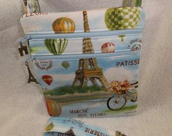 Paris Eiffel Tower Balloon Crossbody Handbag w/adj strap