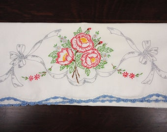 Single White Embroidered Pillow Case  Standard Size  Open Roses
