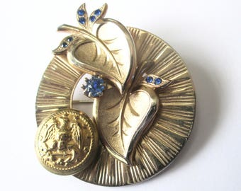 NAVAL ACADEMY vintage button brooch. Better than a corsage