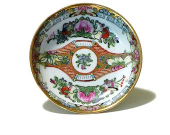 Famille Rose Medallion Small Bowl Flowers Butterflies Birds Scrolls Hand Painted Miniature Dish Dresser Vanity Trinket Dish