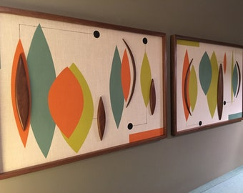 Mid Century Modern Witco Abstract Wall Art Sculpture Painting Retro Eames Era - Sonoma Pair