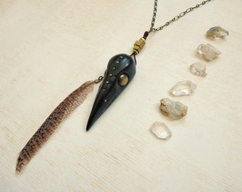 Tribal gypsy talisman skull & feather necklace