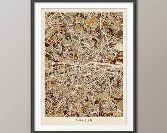 Dublin Map, Dublin Ireland City Map, Street Map of Dublin Eire, Art Print (2808)