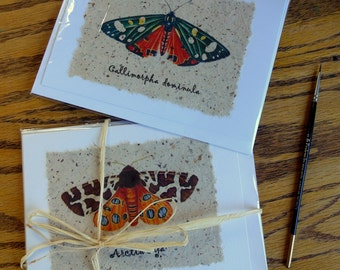Handmade moth nature art cards
