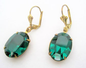 Green Earrings - Emerald Faceted Rhinestones - Dangle French Wire Backs