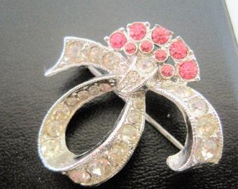 Ora Rhinestone Brooch - Pink Clear Swirl Style - Des. Pat Pend. - 40's brooch