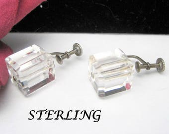 Sterling Earrings -  Clear Lucite Cubes  - 40's Screw Backs