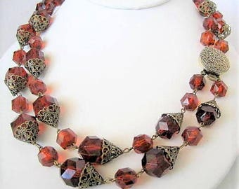 Brown Lucite Necklace - Root Beer Color -  2 strands - Western Germany Necklace - Mid Century