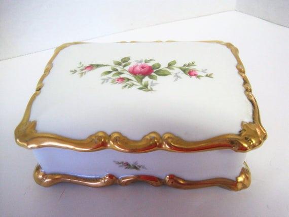 Rosenthal Trinket Box - SELB Germany - White Porcelain Roses - Gilt Edge - Vanity Box