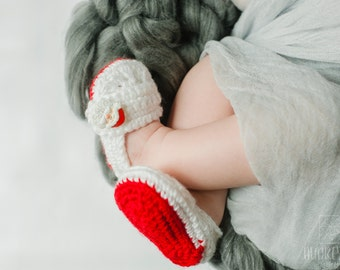 Baby Girl or Boy Shoes / Slippers - Red Santa Holiday - YOUR choice size - (newborn - 12 months) - photo prop - children