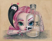 Skully Gin LIMITED EDITION print signed numbered Simona Candini lowbrow pop surreal big eyes skull pinup pink goth art tattoo badass girl
