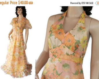 On Sale 60s 70s Halter Dress, Southern Belle, Vintage Wedding, Caplet, Orange