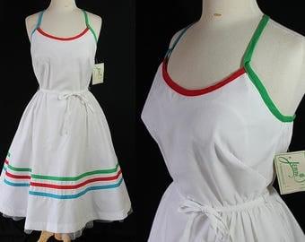 70s Does 50s Dress, Rainbow Stripes, Sundress, NOS, Jenni
