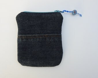 coin purse - purse organizer-credit card holder-denim repurposed zippered pouch- modern design-small bag