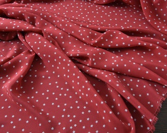 """Silk Crepe de Chine fabric, little stars, red 55"""" 15m/m, elegant Silk Fabric for Dresses, shirts, scarves, blouse by the yard"""
