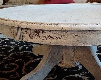 Shabby Farmhouse Chic White Round  Coffee Table