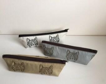 Cat Pencil Case, Zipper Pencil Pouch, Cute Pencil Pouch, Triangle Pencil Case, Black and White Cat, Brown Cat, Cute Cat Pouch, Blue cat