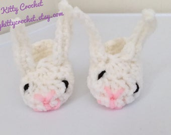 READY TO SHIP Easter Bunny Baby Booties - Boy or Girl - Six to Twelve Months Size- Baby's First, Photo Prop