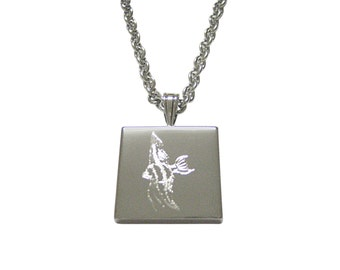 Silver Toned Etched Tropical Fish Pendant Necklace