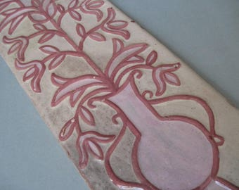 Vintage Tall Pink Art Tile Wall Hanging Made in Greece