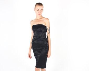 90s / Millennium Metallic Sexy Black Oil Slick HOLOGRAPHIC Strapless Bandeau Bandage / Bodycon Mini Tube Wiggle Dress