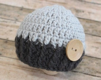 Baby Newborn Boy Knitted Hat - Two-Tone Grey Gray Beanie Hat Cap - Photography Prop -  Crochet - Baby Gift