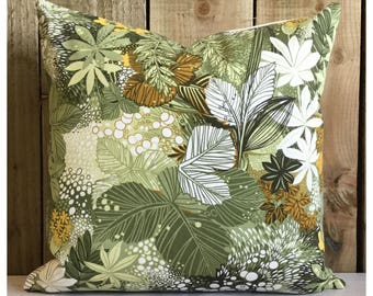 Vintage 70s Green Botanical Fabric Cushion Cover  Retro Throw Pillow