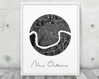New Orleans City Map Poster. New Orleans Urban Street Map Print. Black & White New Orleans Louisiana Print. Modern Home Decor. Printable Art