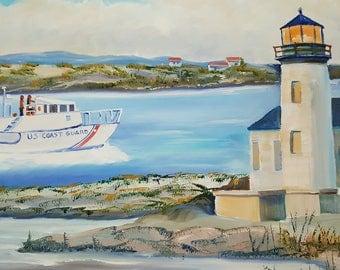 Bandon  Oregon Oil, Coast Guard Boat, Bandon Lighthouse, Original Dan Leasure Oil, 34 w, 21 h in.