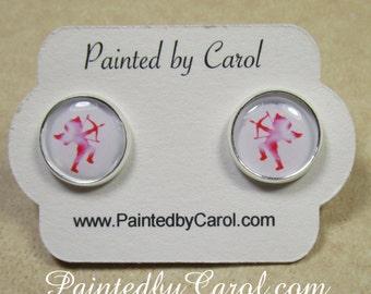 Cupid Earrings, Valentines Jewelry, Cherub Studs, Cupid Jewelry, Valentine Earrings, Valentine Gifts, Cupid Gifts, Girls Earrings